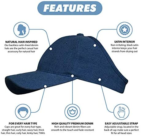 URBAN GLORY Women's Satin Lined Ponytail Baseball Cap - Satin-Lined Denim Dad Hat for Curly or Natural Hair - Satin Lined Baseball Cap Women (Dark Blue Denim): Clothing