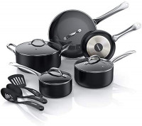 ITSMILLERS Ultra Nonstick Kitchen Cookware Set.Classic 12 Pcs Pans and Pots Set with Glass Lids,Dishwasher Safe,Cool Touch Stainless Steel Handle,Space Saving,Night Black: Kitchen & Dining