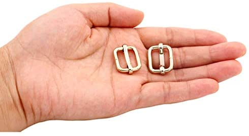 BIKICOCO Metal Slide Adjuster Buckle Tri-Glides with Movable Center Bar, for Adjustable Straps, Non Welded, 0.6x0.5 Inch, Light Gold, Pack of 30