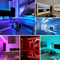 Onforu 65.6ft LED Strip Light, 5050 RGB Dimmable LED Light Strip, Color Changing LED Tape Light, 20m Multi Colored Rope Light with Remote and 24V Power Supply for Bedroom, Party, Living Room: Home Improvement