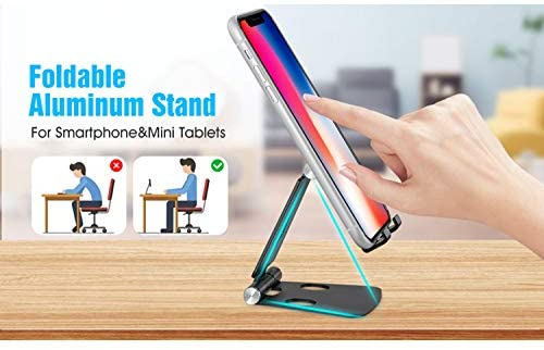 Adjustable Cellphone Stand, Cabepow 2 Pack Aluminum Desktop Phone Holder with Anti-Slip Base and Convenient Charging Port for iPhone 11 Xs XR X 8 SE 2020, All Android Smartphone: Home Audio & Theater