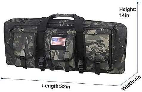 WolfWarriorX Long Rifle Case Tactical Double Rifles Gun Bag Molle (Black Camo, 32inch): Sports & Outdoors
