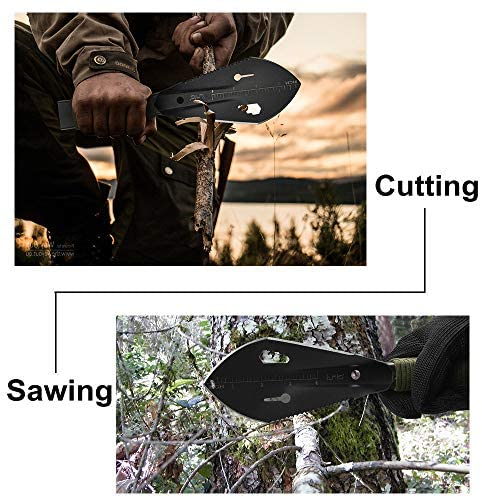 iunio Hiking Trowel, Camping, Backpacking, Portable Shovel, Multitool, Ultralight Camp Tool, with Carrying Pouch, for Gardening, Outdoor, Survival (Black): Clothing