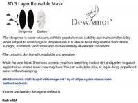 DewAmor Reusable, Washable Neoprene/Cotton Face Mask Protection from Dust, Pollen, Pet Dander and other Airborne Irritants(Black): Home Improvement
