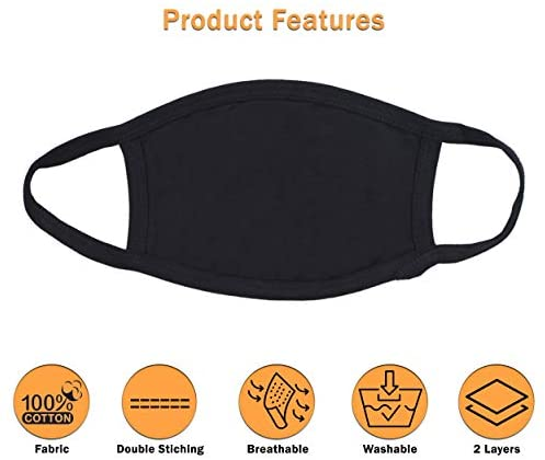 Pure Cotton Reusable Face Mask - Protective Fabric Face Cover 3 Piece Set, Washable & Breathable Mouth Mask (Black, White, Blue)