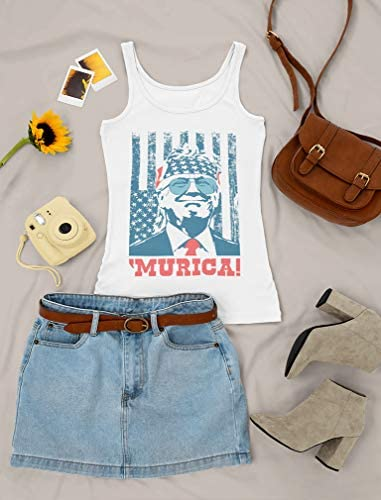 Donald Trump 2020 Murica Patriotic American Party 4th of July USA Women Tank Top: Clothing