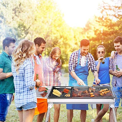 ISUMER Charcoal Grill Kabab Grills Portable BBQ - Stainless Steel Folding BBQ Camping Grill Large Hibachi Grill Shish Kabob Portable Camping Cooking for Travel Grill Outdoor: Garden & Outdoor