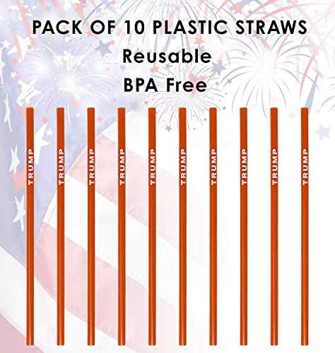 Trump Straws (New Version Straw)- Red and White Reusable Plastic Drinking Straws- Pack of 10: Kitchen & Dining