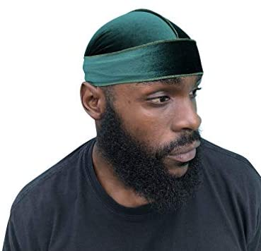 Velvet Durag - Head Wrap, 360 Waves, Designer Quality, Lasts Forever, Multiple Styles Dark Green: Clothing