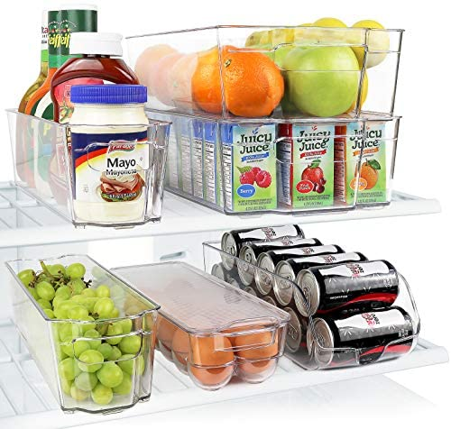 Greenco GRC0250 Fridge Bins, Stackable Storage Organizer Containers with Handles for Refrigerator, Freezer, Pantry and Kitchen Cabinets, BPA, Standard, Clear: Kitchen & Dining