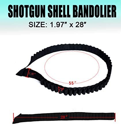 EASTERUP Shotgun Shell Bandolier Bandoleer-Tactical Black 56 Round Rifle Ammo Shot Shell Shoulder Carrier, Perfect for Large Shell Count Tactical, Shotgun Sports Events and Zombie Apocalypse : Sports & Outdoors