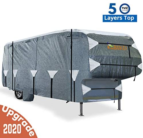 KING BIRD Extra-Thick 5-Ply Top Panel & 4Pcs Tire Covers Deluxe 5th Wheel RV Cover, Fits 26'-29' RV Cover -Breathable Water-Repellent Rip-Stop Anti-UV with Storage Bag (26'-29'New): Automotive