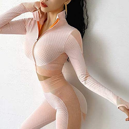 2 Piece Workout Sets for Women Yoga Pants Set Long Sleeve Tracksuit Thumb Hole Front Zipper Crop Activewear Tops at Women's Clothing store