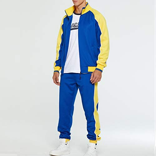 TOLOER Men's Activewear Full Zip Warm Tracksuit Sports Set Casual Sweat Suit at Men's Clothing store