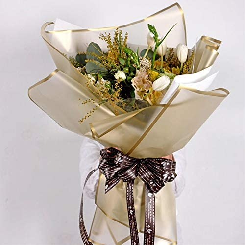 Frosted Flower Wrapping Paper White Lines Gift Packaging Florist Bouquet Supplies 20 Sheets (Gold): Arts, Crafts & Sewing