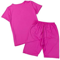 Womens 2 Piece Shorts Sets Tracksuit Sport Yoga Joggers Short Sleeve Crop Top+Shorts Casual Activewear at Women's Clothing store