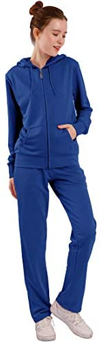 2 Pieces Tracksuit Sets Women's Jogging Hoodie Outfits Solid Zip Up Active Jogger Track Suit at Women's Clothing store