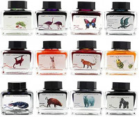ZZKOKO Calligraphy Set India Ink, 12 Colors Shimmer Dip Pen Ink Set, Art Writing Drawing Ink Bottles, 6.0 oz, Set of 12, Gift Box (Animal Series) : Office Products