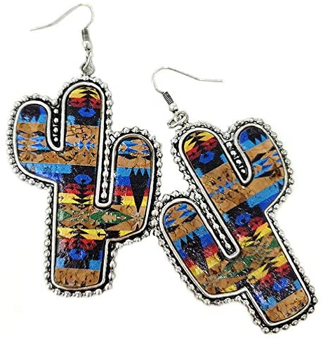Navajo Cactus Cork Wood Fish Hook Earrings Boho: Jewelry