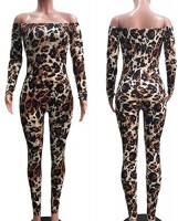 Uni Clau Women Off Shoulder Leopard Jumpsuit - Sexy One Piece Outfits Long Sleeve Bodycon Leopard Clubwear Rompers: Clothing