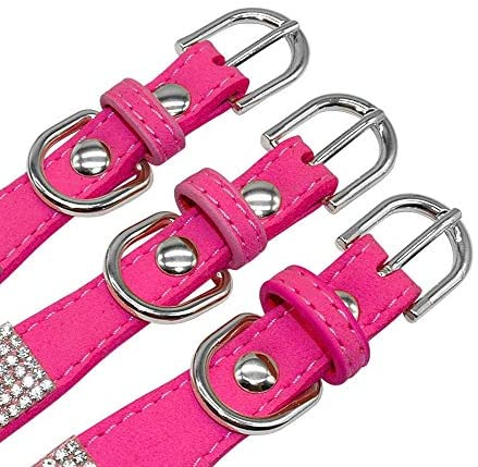 haoyueer Cute Dazzling Sparkling Elegant Fancy Soft Suede Leather Bling Rhinestone Crystal Jeweled Pet Cat Dog Puppy Collar Dog Leash Combo Set(Hot Pink, L) : Pet Supplies