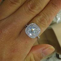 Metmejiao Fashion Ring Cushion Cut 4ct Zircon Diamonds Stone 925 Sterling Silver Engagement Wedding Band Ring for Women (7)