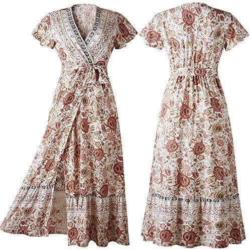 PRETTYGARDEN Women's Summer V Neck Wrap Vintage Floral Print Short Sleeve Split Belted Flowy Boho Beach Long Dress at Women's Clothing store