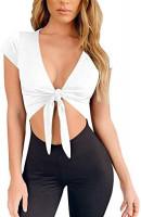 LCNBA Deep v Neck Short Sleeve Crop Top, Bandage Cross Wrap Tie Up Crop Tops at Women's Clothing store