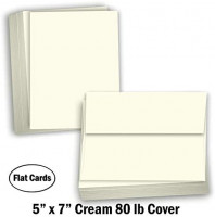 """Hamilco Card Stock Blank Note Cards with Envelopes 5"""" x 7"""" Cream Cardstock Paper 80lb Cover - 100 Pack: Office Products"""