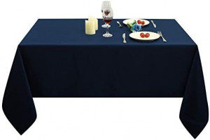 Obstal Rectangle Table Cloth, Oil-Proof Spill-Proof and Water Resistance Microfiber Tablecloth, Decorative Fabric Table Cover for Outdoor and Indoor Use (Navy Blue, 60 x 84 Inch): Kitchen & Dining