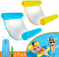 2 Pack Pool Floats for Adults, Adult Water Float, 4 in 1 Multi-Purpose Hammock Pool Lounge Chair Float(Yellow & Blue): Kitchen & Dining