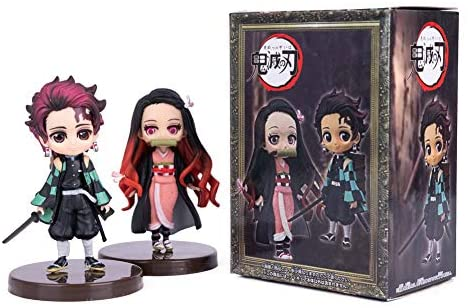 Demon Slayer: Kimetsu No Yaiba Kamado Tanjirou Nezuko Action Figure Statue Figurine Model Doll Cute Collection Birthday Gifts PVC 3-4 Inch 2 in 1: Toys & Games