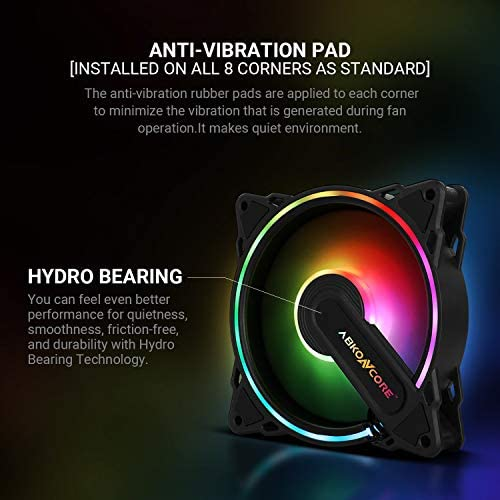 ABKONCORE HR120 PC Fan, SYNC PWM RGB 120mm Computer Fans, Hurricane RGB Frame PC Case Fans with Hydro Bearing and Anti Vibration Pads, Silent Dual Fans with 61 LED Modes, Fan Control Hub (3in1 Kit): Computers & Accessories