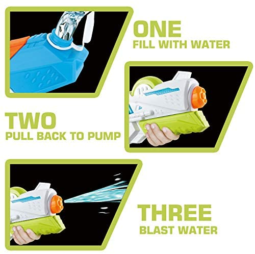 2 Pack Large Water Gun(16.5 inch), High Capacity&30-35 Feet Shooting Range Water Shooter for Kid Adult, Soaker Blaster Squirt Toy for Swimming Pool Party Beach Fight Activity for Child boy and Girl: Toys & Games