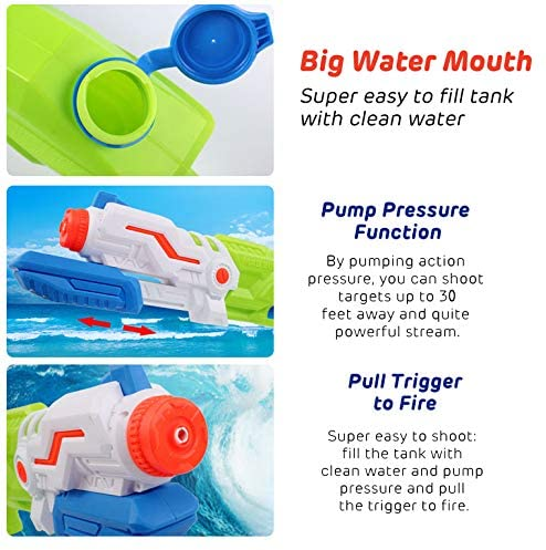 Liberty Imports Max Burst Super Water Gun High Capacity 600ml Power Soaker Blaster - Kids Toy Swimming Pool Beach Sand Water Fighting (4 Pack): Toys & Games