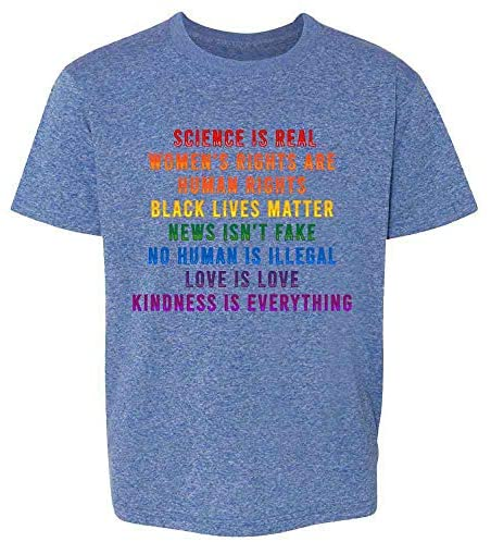 Science is Real Black Lives Matter Womens Rights LGBTQIA Kindness Rainbow Facts Toddler Kids Girl Boy T-Shirt: Clothing