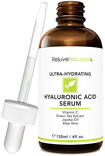 Hyaluronic Acid Serum [LARGE 4-OZ Bottle] Ultra-Hydrating Face Moisturizer. Anti Aging Anti Wrinkle with Vitamin C, E, Jojoba & Aloe. Plumps & Hydrates for Dry Skin & Fine Lines by RejuveNaturals: Beauty