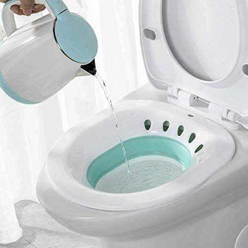 Foldable Sitz Bath Over The Toilet Postpartum Care, Hemorrhoid Treatment That Soothes and Relieves Inflammation, Special Folding Basin for Cleansing Vagina or Anal Region (Green): Health & Personal Care