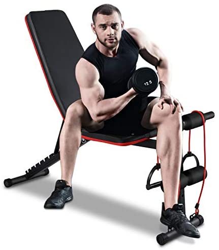 Adjustable Weight Bench Workout Bench Sit Up Incline Curved Bench Flat Fly Weight Press Foldable Multi-Purpose Bench with Resistance Band for Home Fitness Gym Exercise : Sports & Outdoors