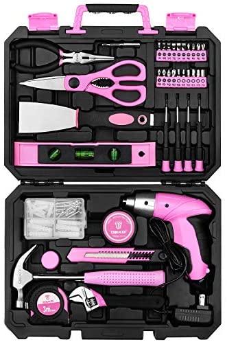 DEKO Pink 98 Piece Tool Set, General Household Hand Tool Kit with Plastic Toolbox Storage Case