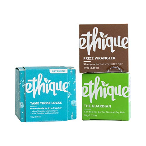 Ethique Eco-Friendly Shampoo & Conditioner Bundle for Dry Hair, Tame Those Locks (Frizz Wrangler & Guardian) - Sustainable, Natural, Soap Free, Vegan, Plant Based, 100% Compostable & Zero Waste, 6oz : Beauty