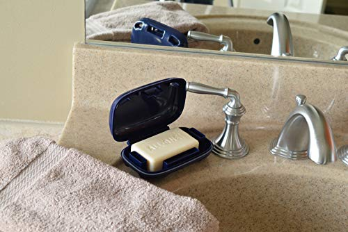 Travel Soap Case by Portineer - Specially Designed Vents That Lets Bar Soap Dry And Doesn't Leak - For Home School Gym Travel Hiking - Patented Design - Blue : Beauty