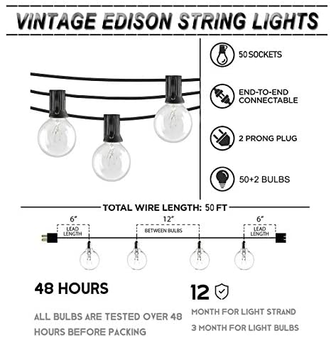 Afirst Outdoor String Lights 100 Ft with 100+5 Globe Bulbs Patio String Lights UL Certification Weatherproof Outdoor Hanging Lights for Garden/Backyard Party/Wedding-Black Cord