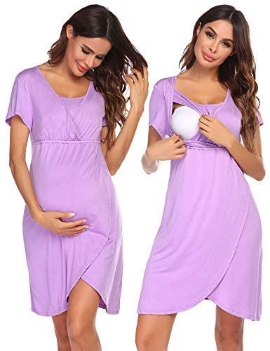 Ekouaer Nursing Dress, Maternity Nightgown Women's Delivery/Labor Breastfeeding Sleep Dress at Women's Clothing store