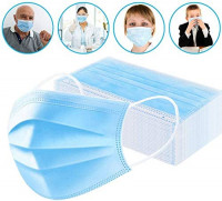3 Ply Disposable Face Masks Protection Safety Mask for Air Pollution Personal Protective Mouth Indoor and Outdoor Use 50 Pcs Blue: Health & Personal Care