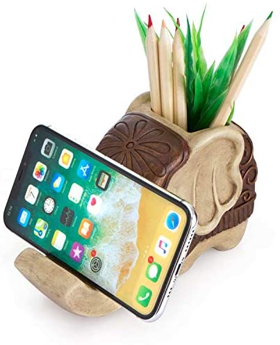 Pen Pencil Holder with Phone Stand, Coolbros Resin Shaped Pen Container Cell Phone Stand Carving Brush Scissor Holder Desk Organizer Decoration for Office Desk Home Decorative (Elephant): Home Improvement