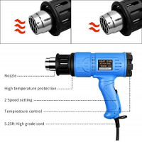 SEEKONE 1800W Heat Gun, Portable Hot Air Gun 122℉~ 1202℉ with Dual Temperature, Fast Heating in Seconds, 4 Nozzles for Heat shrink tubing, Wrapping Drying Painting, Over-heat Protection