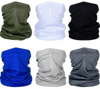 FengleMa 6 Pieces Summer Face Mask UV Protection Neck Gaiter Scarf Sunscreen Breathable Bandana (Black, Dark Grey, Light Grey, Army Green, Royal Blue, White) at Men's Clothing store