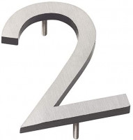 """Montague Metal Products MHN-10-F-BK2-2 Solid Brushed Aluminum Modern Floating Address House Numbers, 10"""", Satin Nickel Powder Coated Black Two-Tone : Garden & Outdoor"""