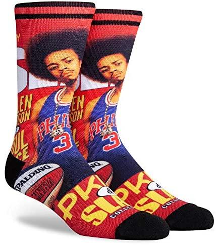 PKWY NBA Unisex Allen Iverson Philadelphia 76ers #3 1-Pack SLAM Cover Crew Socks (Large (Men's 6-12/ Women's 8-12)) : Clothing